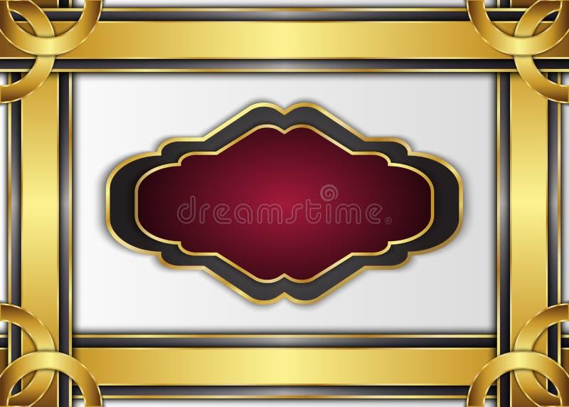 Tappningetikett och mörk guld- bakgrund Mellanrum för meddelande royaltyfri illustrationer