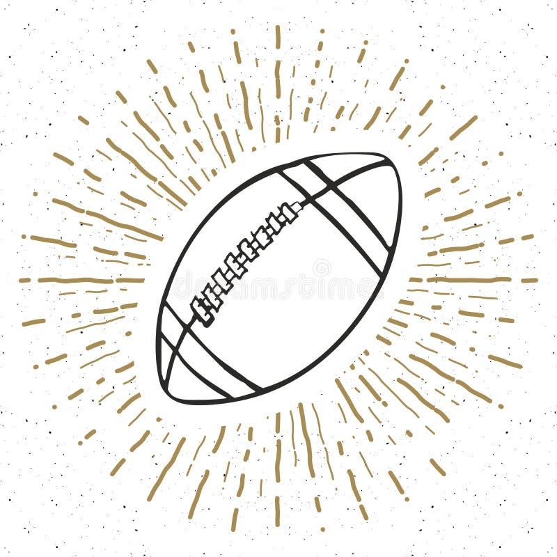 Tappningetiketten, hand dragen fotboll, fotbollboll skissar, det grunge texturerade retro emblemet, det typografidesignt-skjortan royaltyfri illustrationer