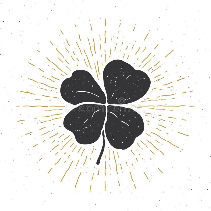 Tappningetiketten, hand dragen lycklig växt av släktet Trifolium för fyra blad, det lyckliga kortet för hälsningen för den helgon stock illustrationer