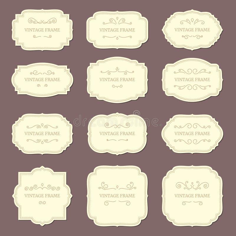 Tappningetikettramar Gamla dekorativa etiketter, modeproduktetikett Retro ramvektormall royaltyfri illustrationer