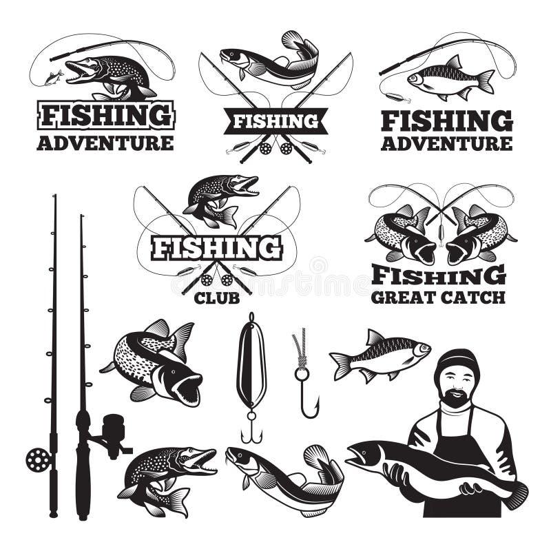 Tappningetikettuppsättning för att fiska klubban Vektorlogomallar royaltyfri illustrationer
