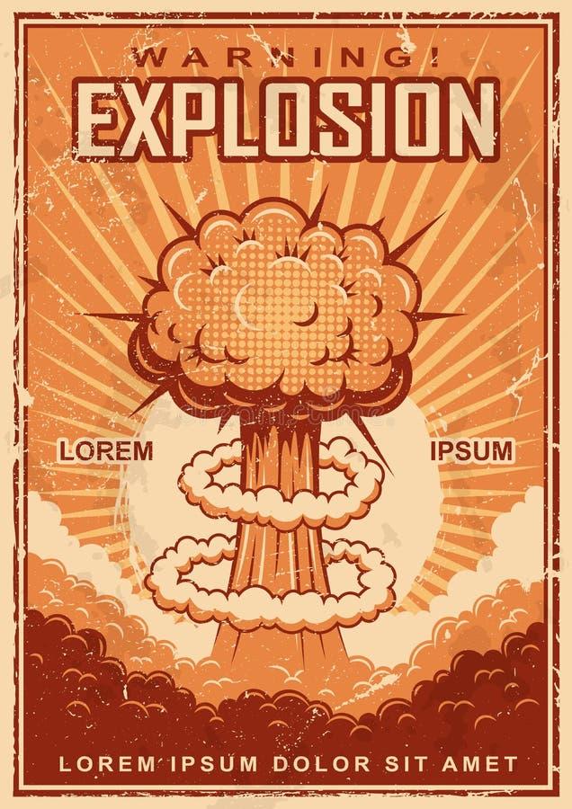 Tappningexplosionaffisch royaltyfri illustrationer