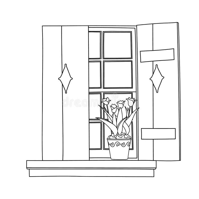Tappningfönstret med att blomma blommar i kruka stock illustrationer