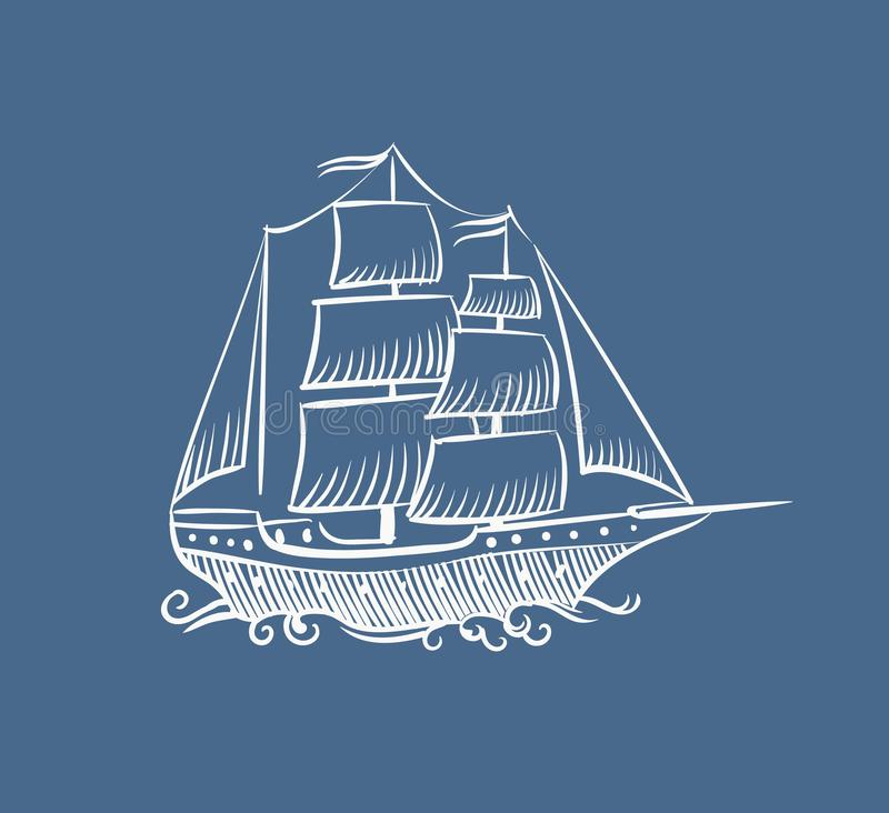 Tappningfartyget skissar Handen drog gamla piratkopierar klotter för havssegelbåtvektor seglar skonareskeppillustrationen på vit stock illustrationer
