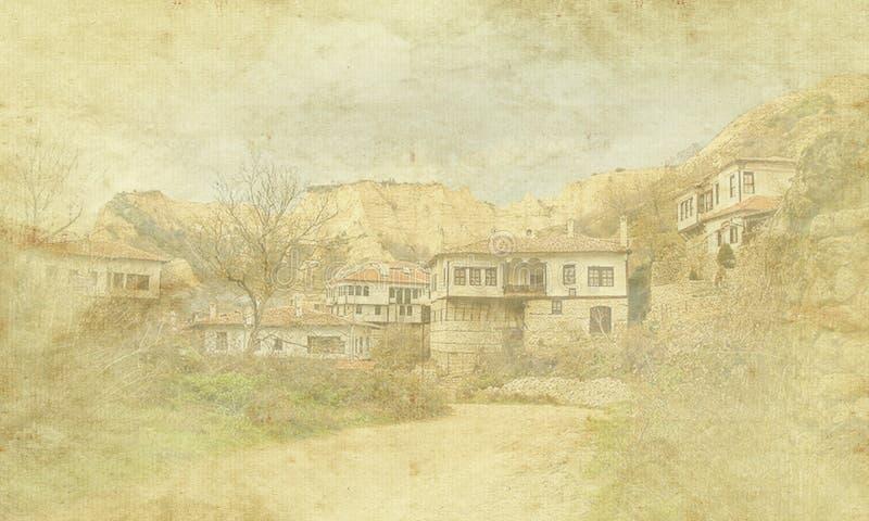Tappningferiekort på gammal pappers- bakgrund Gatasikt av Melnik traditionell arkitektur, Bulgarien Bostads- Europa stock illustrationer