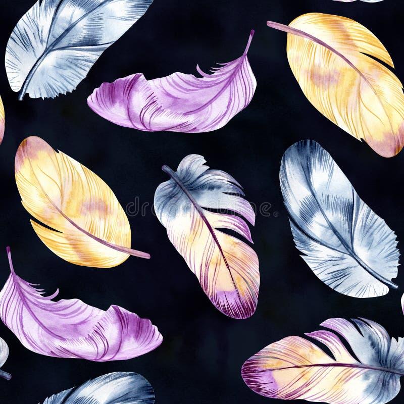 Tappningfjäderdesign Sömlös modell för Retro akvarell Isolerat på vattenfärgbakgrund Det kan användas för kort stock illustrationer