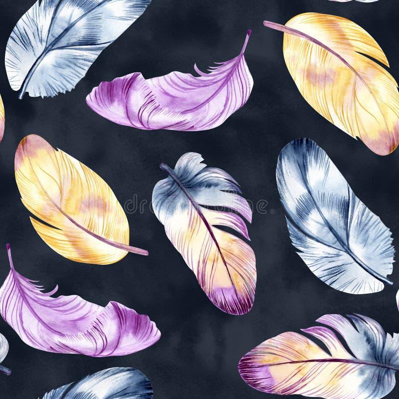 Tappningfjäderdesign Sömlös modell för Retro akvarell Isolerat på vattenfärgbakgrund Det kan användas för kort royaltyfri illustrationer