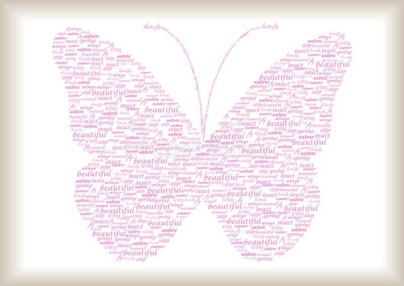 Tappningfjäril som göras av ord stock illustrationer