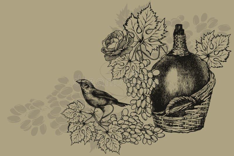 Tappningflaska av vin, mogna druvor och den sittande fågeln Tappningbakgrund, vektorillustration vektor illustrationer
