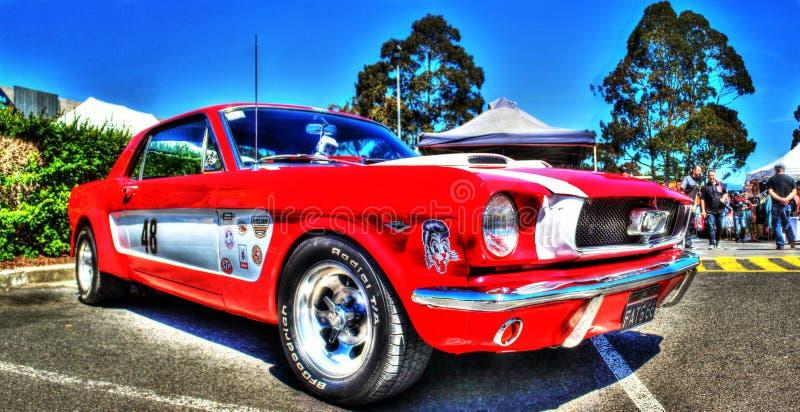 TappningFord Mustang racerbil royaltyfri foto