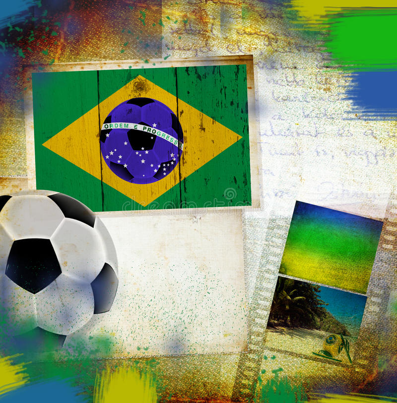 Tappningfoto av den Brasilien flaggan och fotbollbollen royaltyfri bild