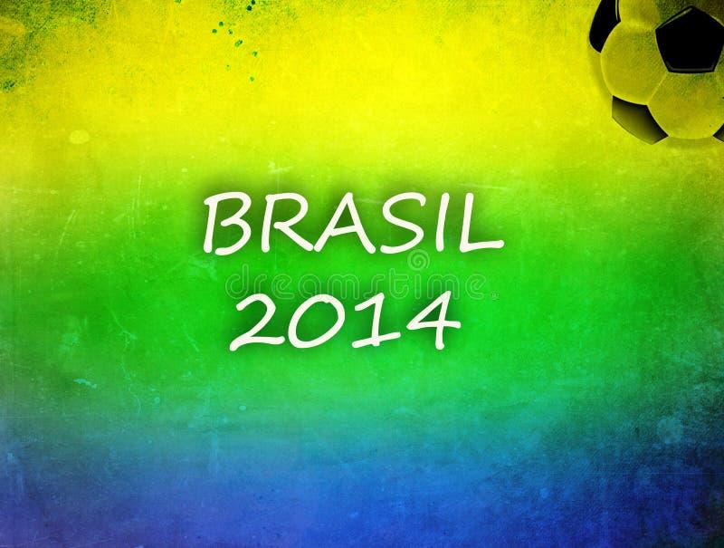 Tappningfoto av den Brasilien flaggan och fotbollbollen arkivbilder