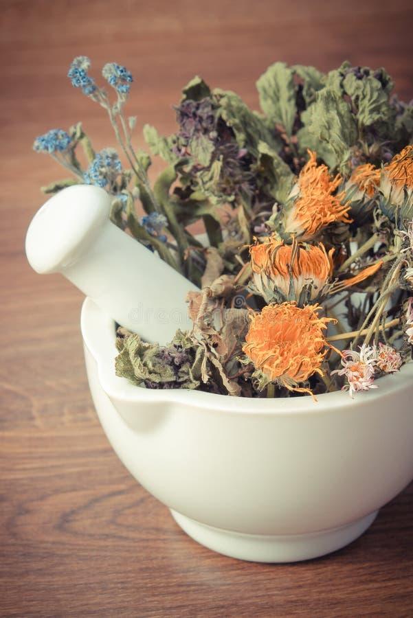 Tappningfoto, torkade örter och blommor i vit mortel, herbalism, garnering royaltyfri foto