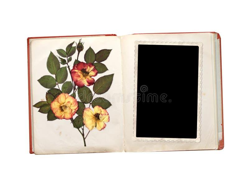 Tappningfotoet, gammal bok och torkar rosa blommor fotografering för bildbyråer