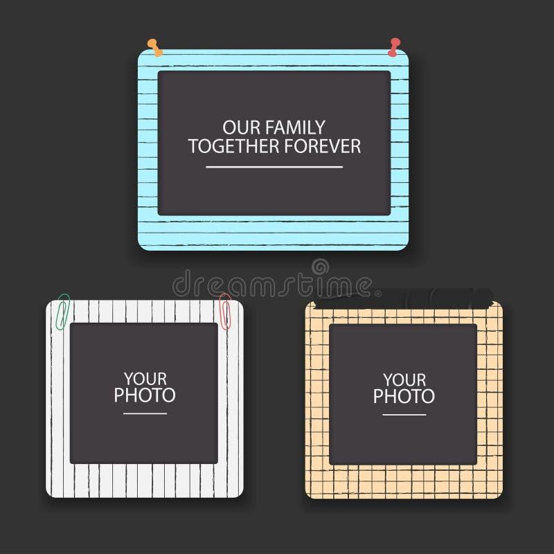 Tappningfotoet inramar collage Retro designbegrepp för urklippsbok Albummallen för unge, behandla som ett barn, familjen eller mi vektor illustrationer