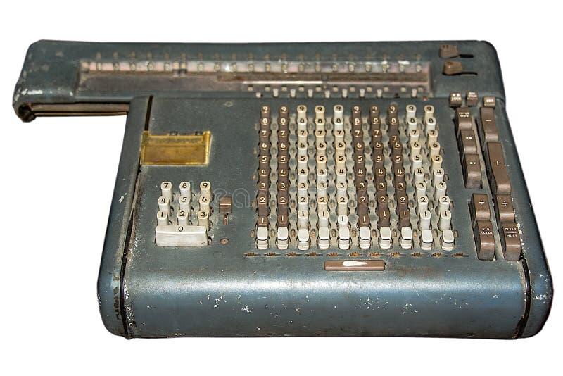 TappningFull-tangentbord roterande räknemaskin med den snabba banan fotografering för bildbyråer