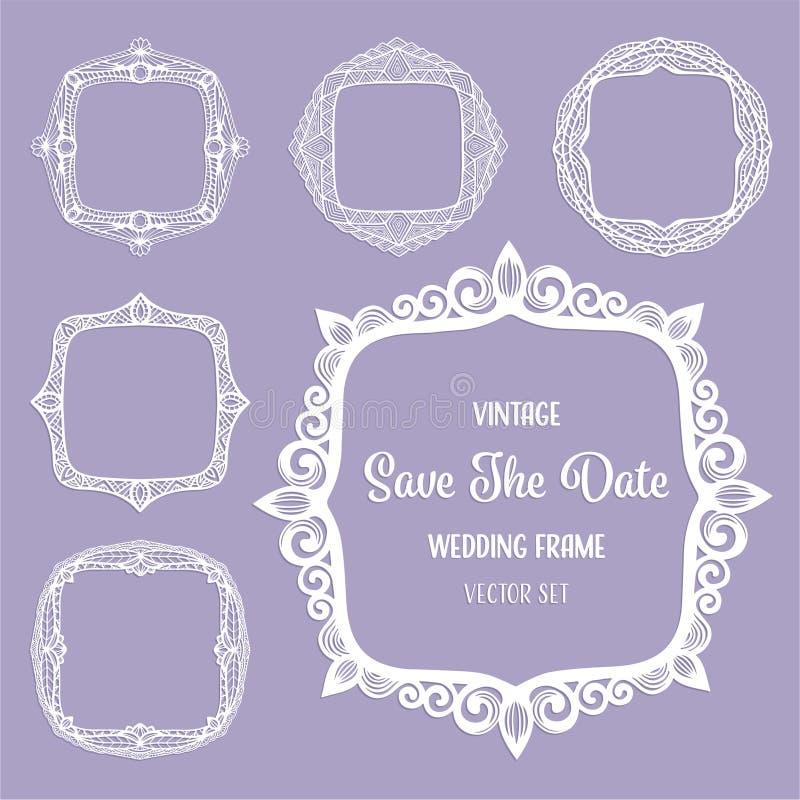 Tappningfyrkantramar, art déco gränsar för det eleganta bröllopinbjudankortet, text, foto Laser-snittuppsättning, fyrkantprydnade royaltyfri illustrationer