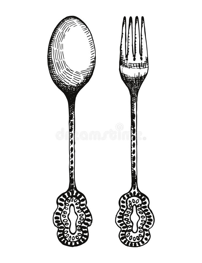 Tappninggaffel och skedvektor Illustration för bestickhandteckning vektor illustrationer