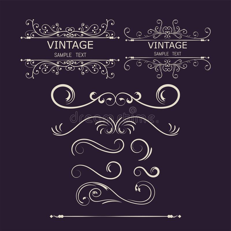 Tappninggarneringbeståndsdelar Calligraphic prydnader och ramar för krusidullar också vektor för coreldrawillustration royaltyfri illustrationer