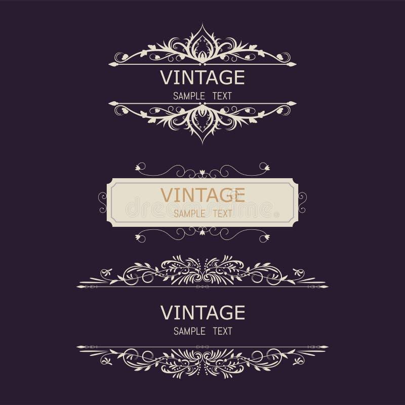 Tappninggarneringbeståndsdelar Calligraphic prydnader och ramar för krusidullar Retro stildesignsamling för inbjudningar, baner stock illustrationer