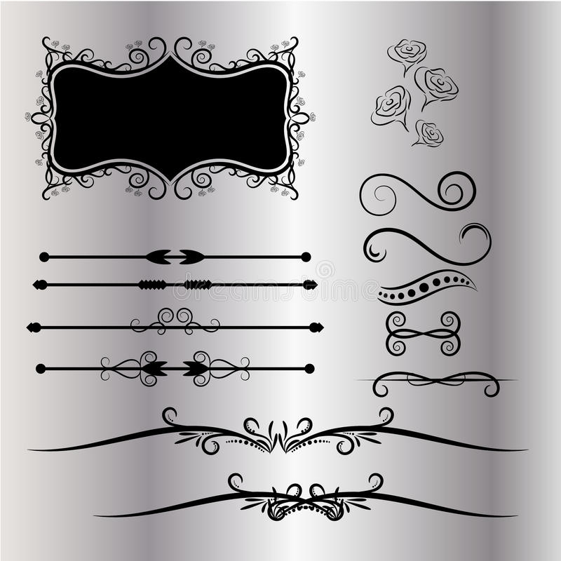 Tappninggarneringbeståndsdelar frodas Calligraphic prydnader, och ramar grånar bakgrund royaltyfri illustrationer