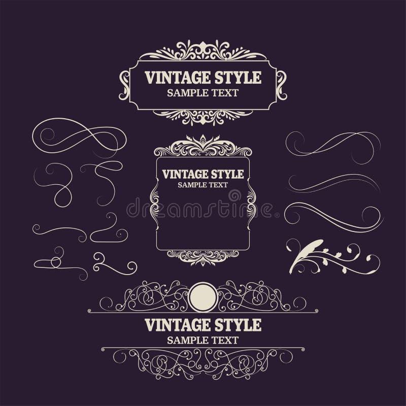 Tappninggarneringbeståndsdelar och ramar Förser med märke den nya samlingen för den Retro stildesignen för inbjudningar, baner, a stock illustrationer