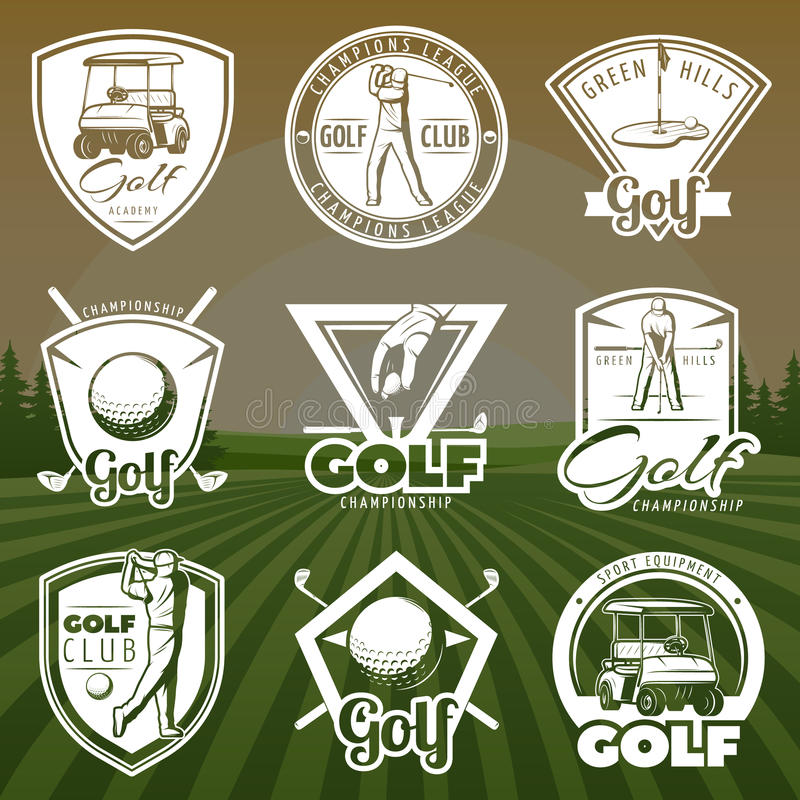 Tappninggolfklubblogoer stock illustrationer