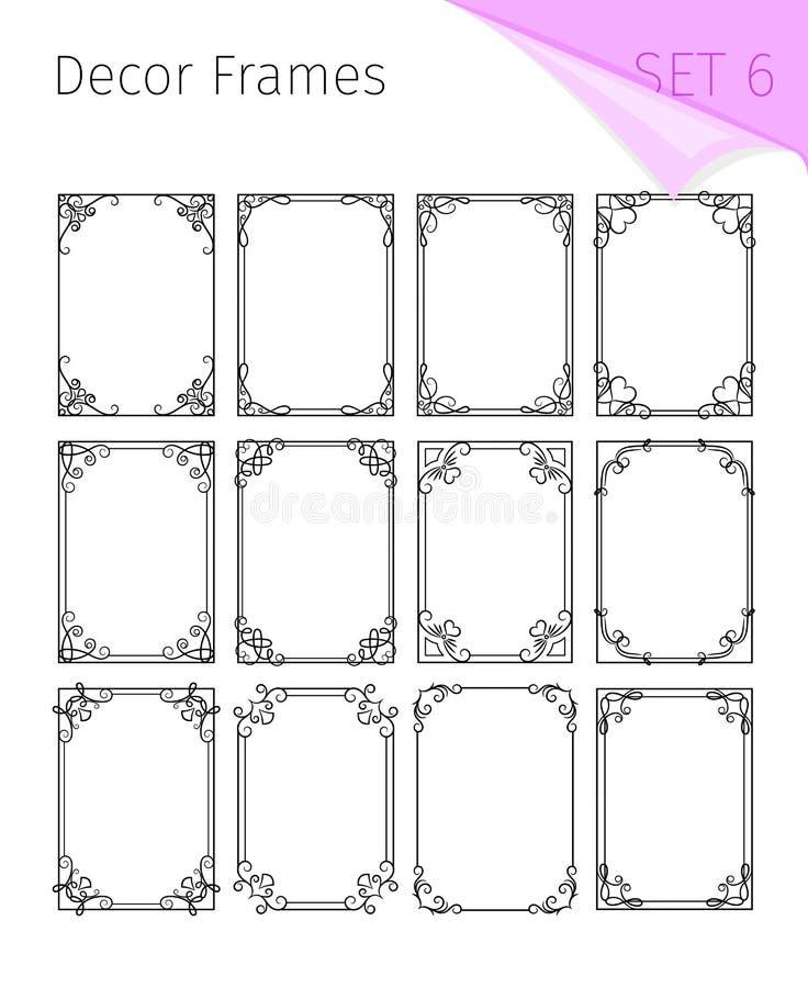 Tappninggränser Ramar för vektortappningkaraktärsteckning, dekorativa designer för jugendstilgräns för inbjudningar vektor illustrationer