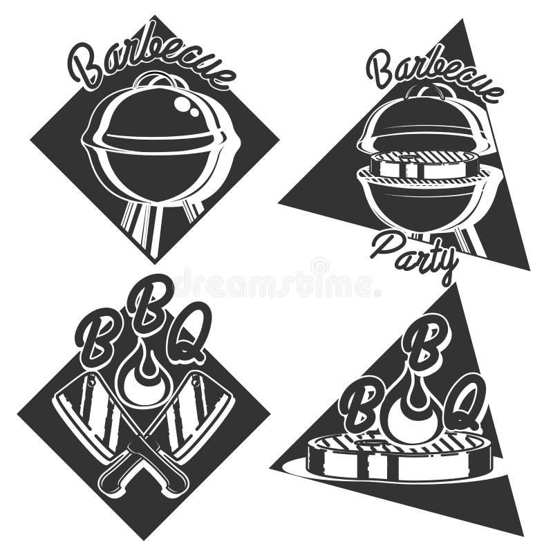 Tappninggrillfestemblem vektor illustrationer