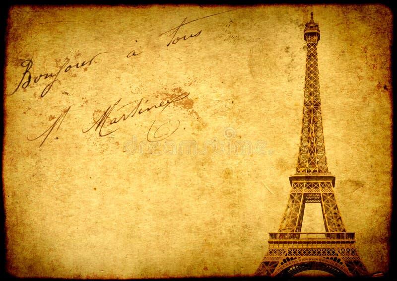 Tappninggrungebakgrund med gammal pappers- textur och Eiffel Towe arkivbild