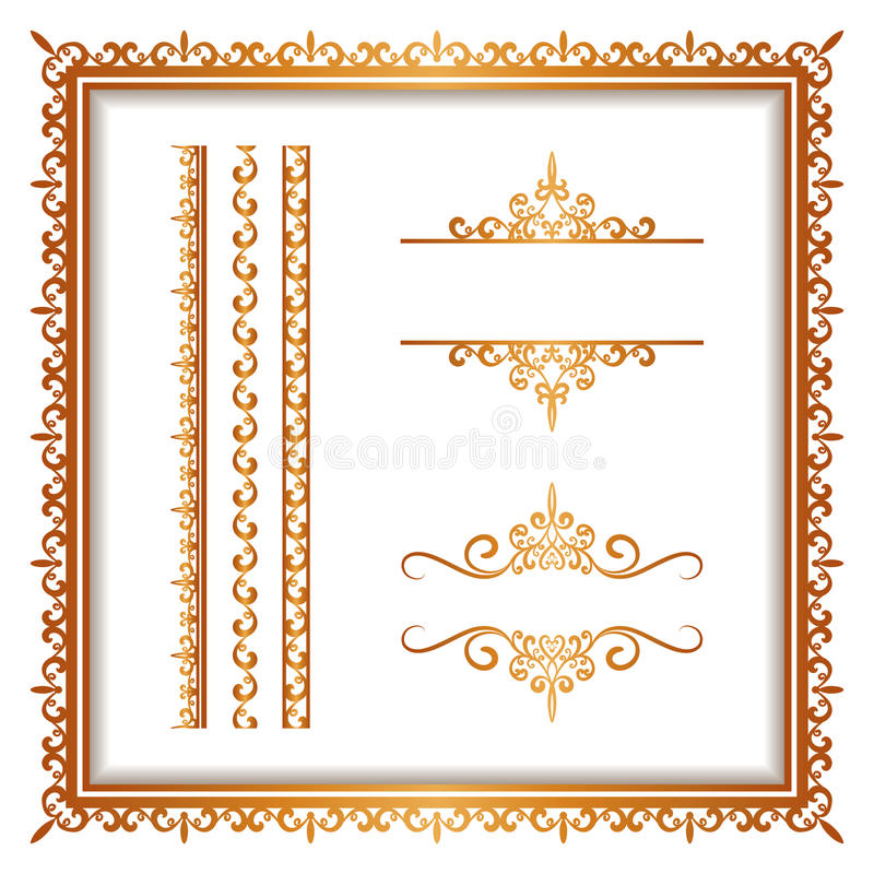 Tappningguld gränsar och ramar på vit royaltyfri illustrationer