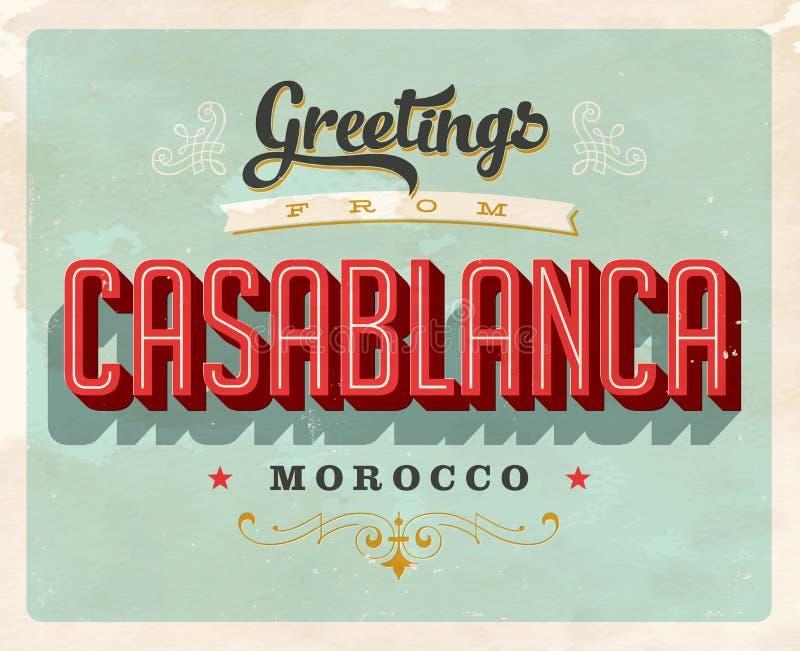 Tappninghälsningar från Casablanca, Marocko semesterkort royaltyfri illustrationer