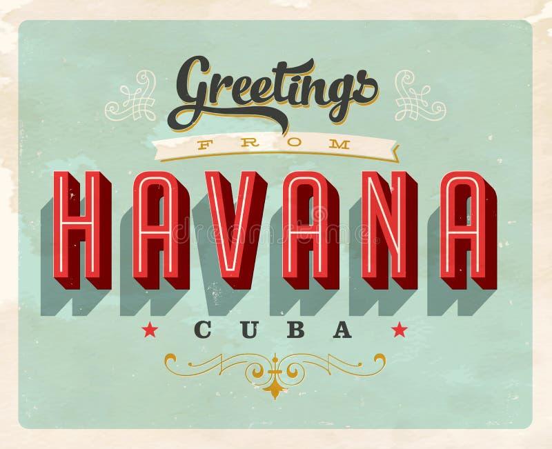 Tappninghälsningar från havannacigarren, Kubasemesterkort vektor illustrationer