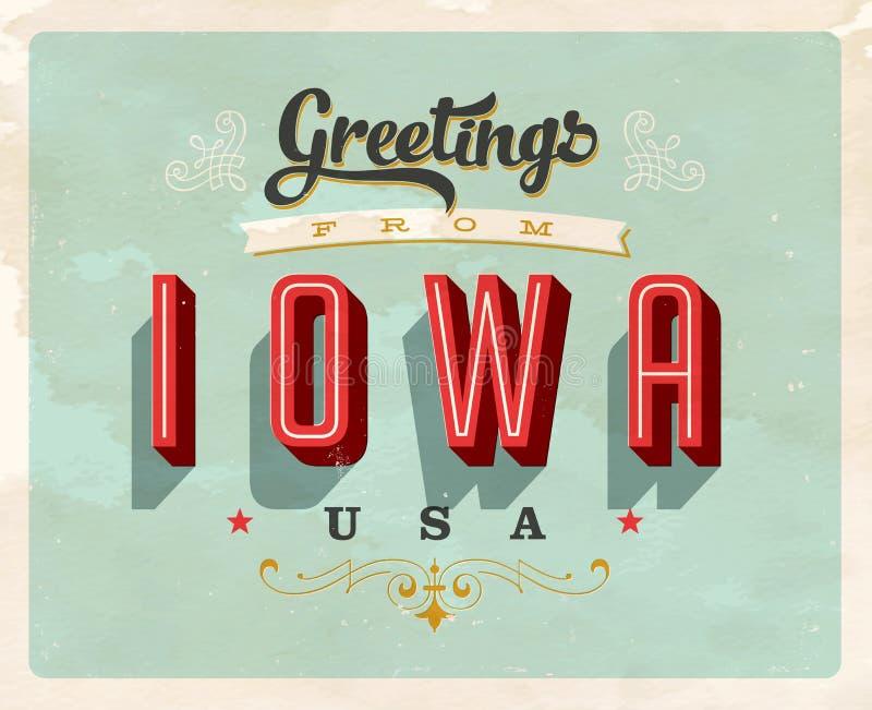 Tappninghälsningar från Iowa semesterkort vektor illustrationer