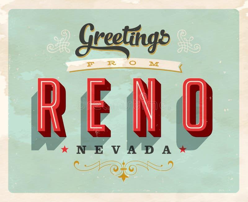 Tappninghälsningar från Reno semesterkort vektor illustrationer