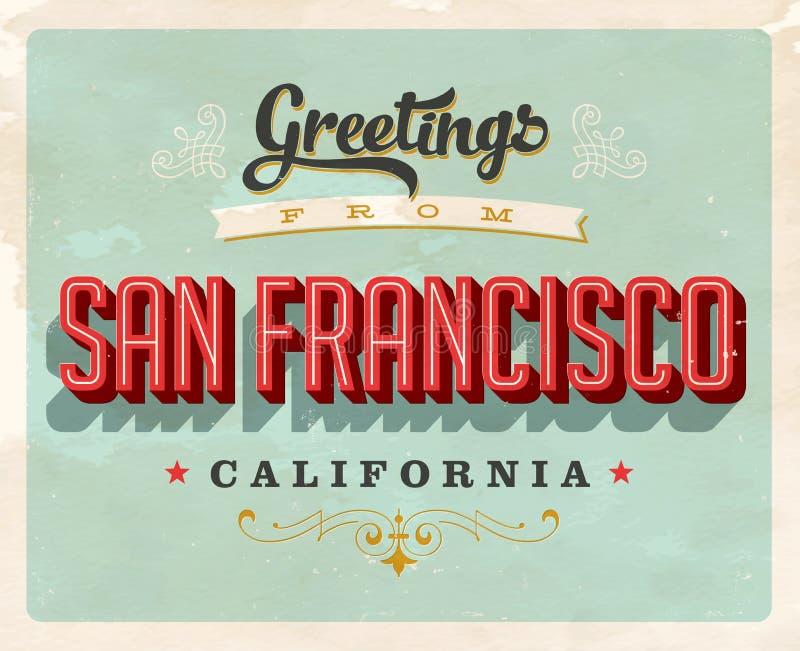 Tappninghälsningar från San Francisco, Kalifornien semesterkort stock illustrationer