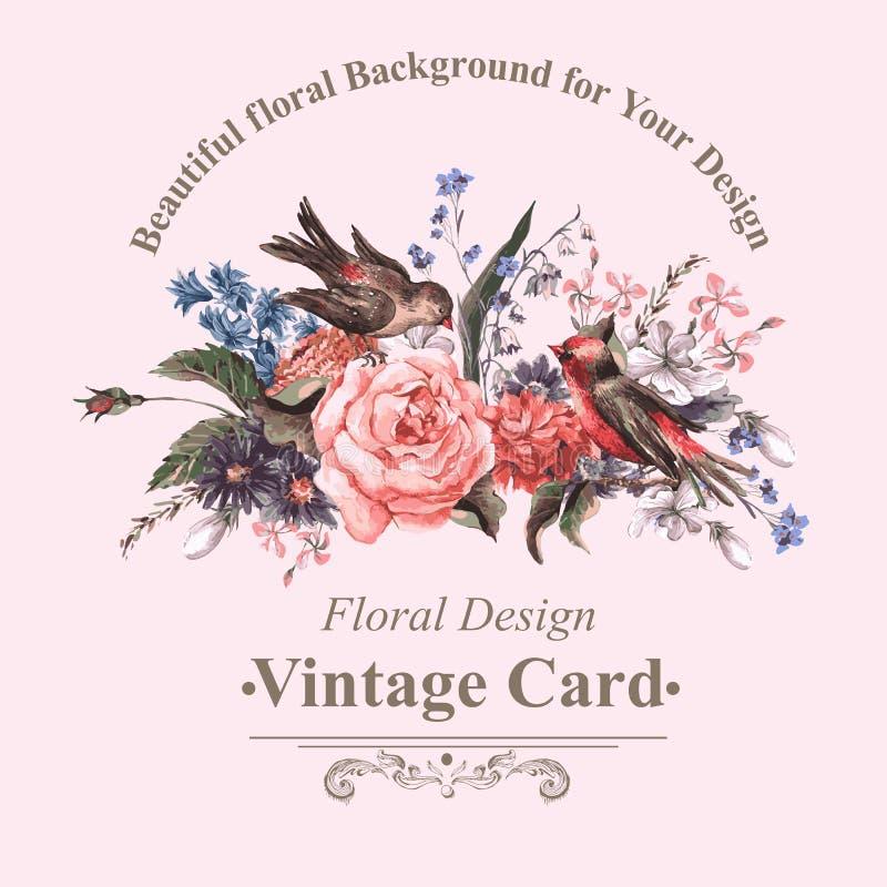 Tappninghälsningkort med blommor och fåglar royaltyfri illustrationer
