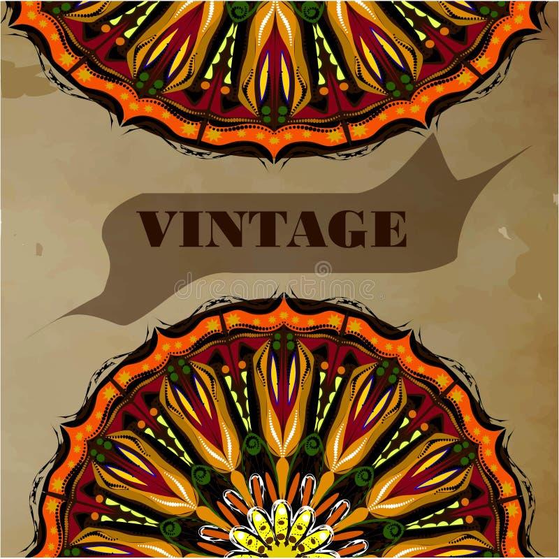 Tappninghälsningkort med mandalaen på tappningbakgrund royaltyfri illustrationer