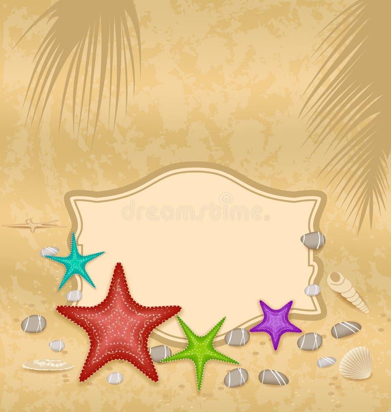 Tappninghälsningkort med skal och sjöstjärnor och ställe för t stock illustrationer