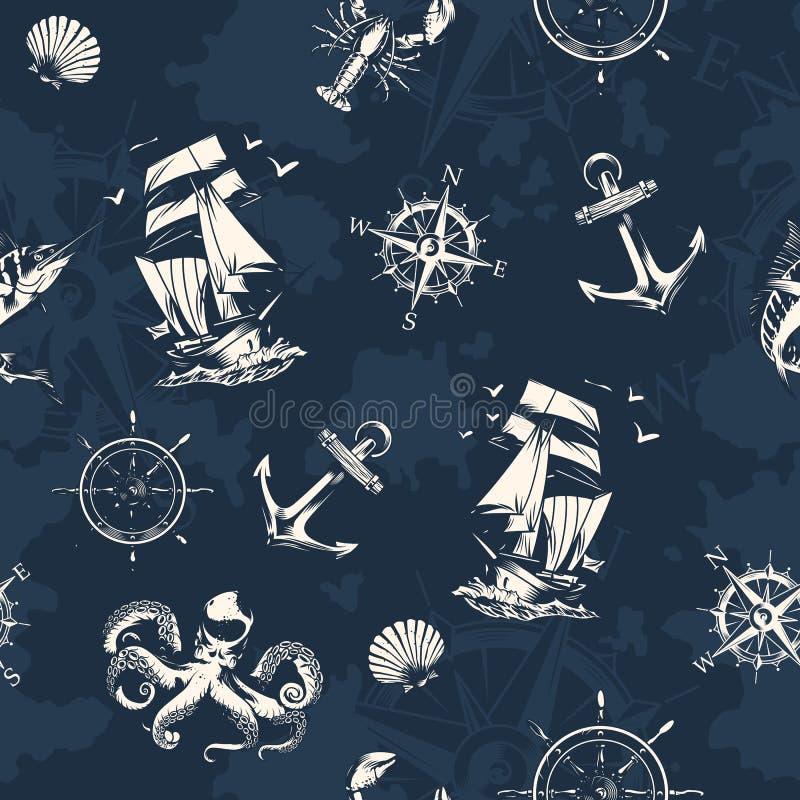 Tappninghav och nautisk sömlös modell royaltyfri illustrationer