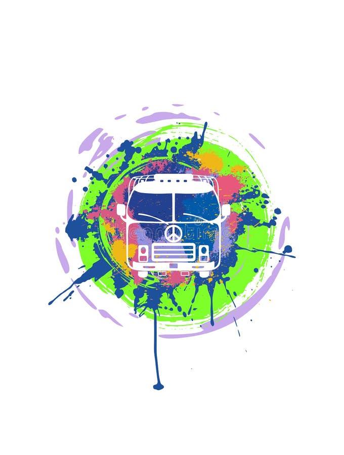 Tappninghippieskåpbil Campa VW-buss med kulöra målarfärgfärgstänk stock illustrationer