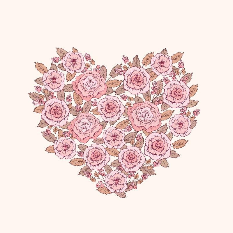 Tappninghjärta av vårblommor bröllop för romantiskt symbol för inbjudan för bakgrundseleganshjärtor varmt Hälsningkort för mars 8 vektor illustrationer