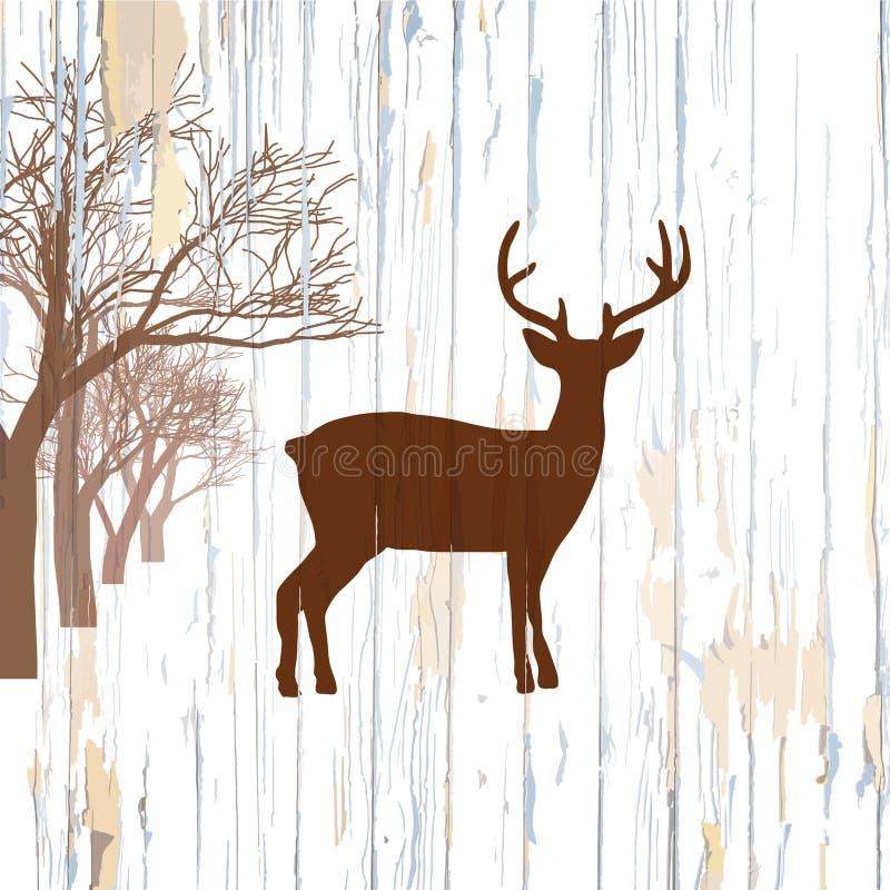 Tappninghjortar på träbakgrund royaltyfri illustrationer