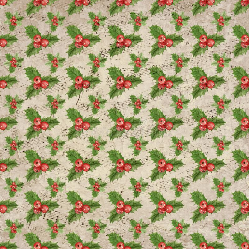 TappningHolly Distressed Sheet Music Christmas bakgrund - Holly Pattern - Digital urklippsbokpapper vektor illustrationer