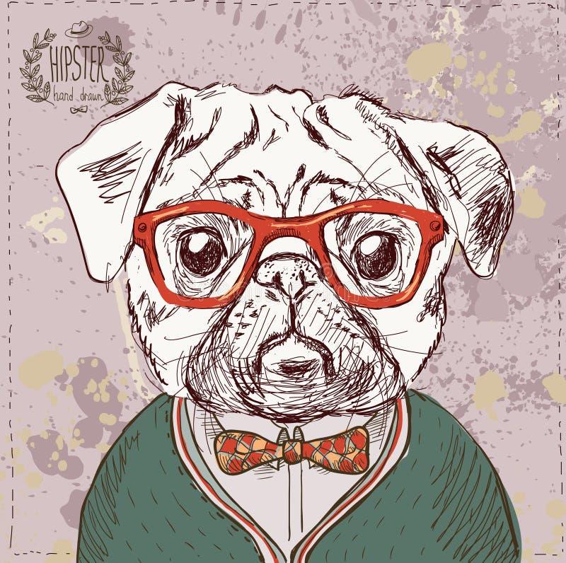 Tappningillustration av hipstermopshunden vektor illustrationer