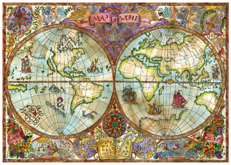 Tappningillustration med översikten för världskartbok på gammalt papper royaltyfri illustrationer