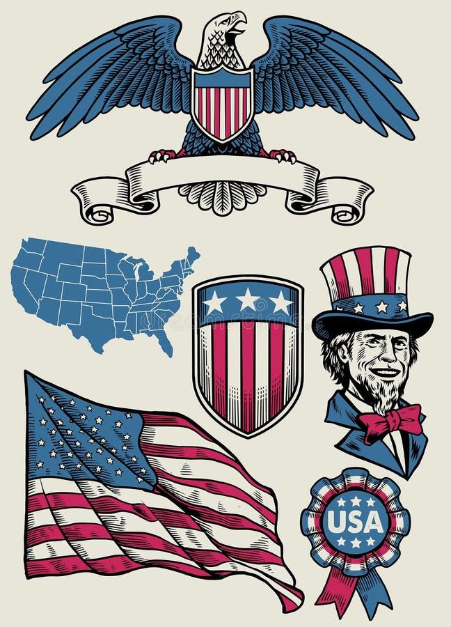 Tappningillustrationen ställde in av objekt av USA vektor illustrationer