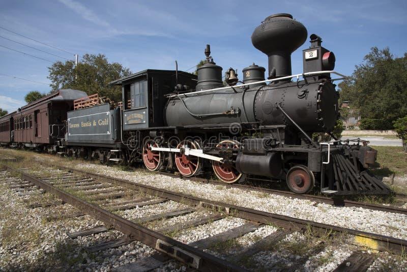 Tappningjärnväglokomotiv på monteringen Dora Florida USA arkivbilder