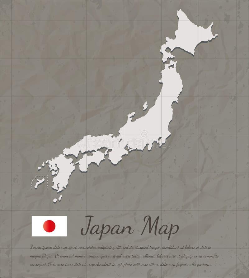 TappningJapan översikt Översiktskontur för pappers- kort vektor royaltyfri illustrationer