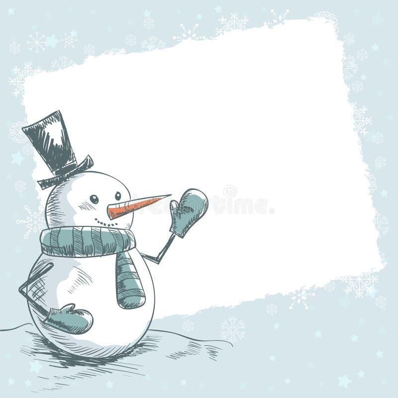 Tappningjulkort med den le snowmanen royaltyfri illustrationer
